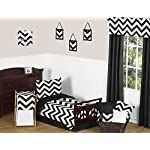 Sweet-Jojo-Designs-Fitted-Crib-Sheet-for-Black-and-White-Chevron-Collection-BabyToddler-Bedding-Zig-Zag-Print
