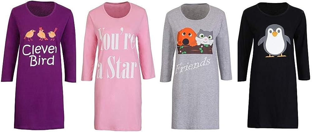 FASHION REVIEW Gimbles/® Ladies Womens Cotton Slogan Long Sleeve Crew Neck Gift Night Dress Nightie PJ