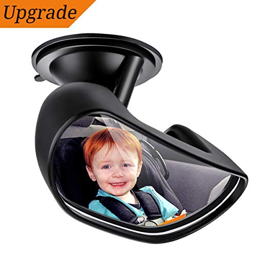 "Upgrade Baby Car Backseat Mirror, ELUTO Rear View Facing Back Seat Mirror 360 Degree Adjustable Strengthen Suction Cup Rearview Wide Angle Convex Mirror for Infant Toddler Child(5.9"" 2.2"")"