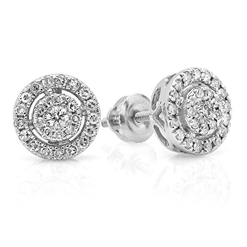 0.40 Carat (ctw) 18K White Gold Round Cut White Diamond Ladies Flower Cluster Stud Earrings