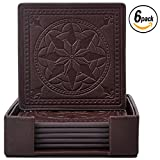 Drink Coasters,365Park PU Leather Coasters Set of 6 with Holder for Drinks Glasses-Functional and Decorative,Coffee