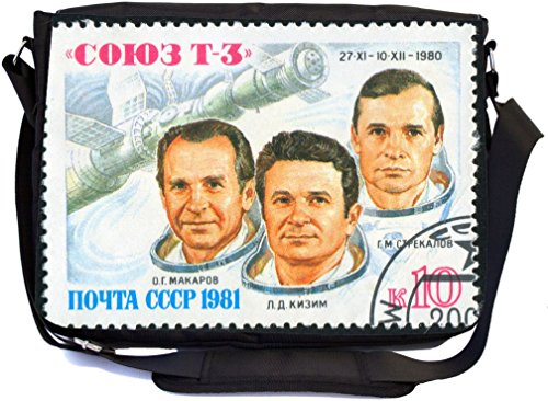 Rikki Knight Postage Stamp of First Three Astronauts Design Multifunction Messenger Bag - School Bag - Laptop Bag - with padded insert for School or Work - includes Pencil Case