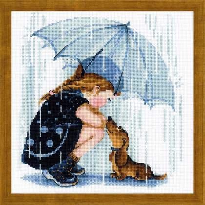 RIOLIS 1720 Under My Umbrella, Counted Cross Stitch Kit, 9.7