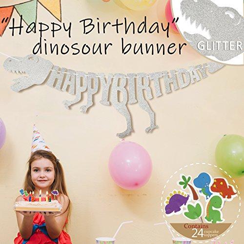 Dinosaur Party Supplies Decorations Glitter T Rex Raptor Garland Happy Birthday Banner And Dino