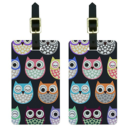 Graphics & More Cute Owl Pattern Luggage Tags Suitcase Carry-on Id, White (Luggage Tag Pattern)
