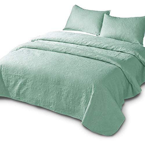 DOMDEC Bedspread Mini Set Light Weight Coverlet Set Oversized Pre-Washed 3 Piece Quilt Set Solid Color (Deep Celadon Green, Oversize King Set)