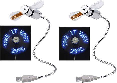 BESTSUGER Ventilador USB portátil, Ventilador de Reloj USB LED con ...
