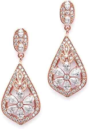 3456b71f2 Mariell CZ Clip On Rose Gold Earrings - Art Deco Jewelry for Weddings,  Bridal,