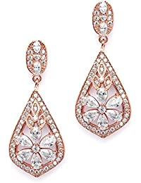 CZ Clip On Rose Gold Earrings - Art Deco Jewelry for Weddings, Bridal, Bridesmaids & Formals
