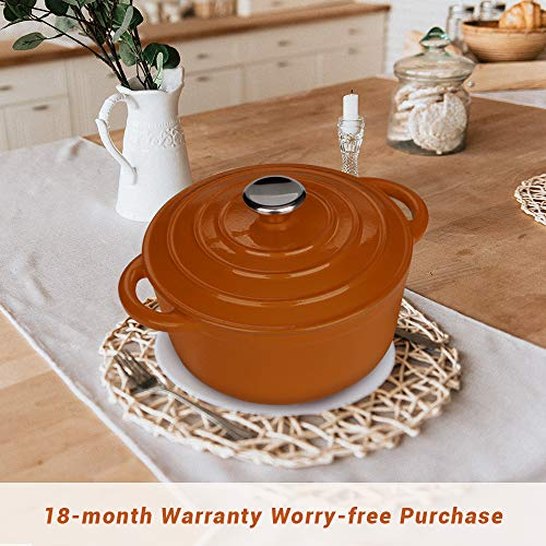 AIDEA Dutch Oven Enameled Cast Iron Round, Bread Baking Pot with Lid & 5-Quart Natural Non-Stick Slow Cook Self