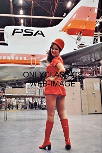 (OnlyClassics PSA Airlines Sexy Stewardess MOD Uniform Fashion Photo Airplane in Hanger Pinup)