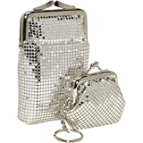 Whiting and Davis Classic Cigarette Case and Coin Pouch Key Ring (Silver)