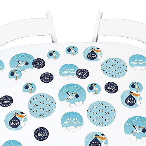 Big Dot of Happiness Boy Special Delivery - Blue It's A Boy Stork Baby Shower Giant Circle Confetti - Party Decorations - Large Confetti 27 Count