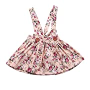 Baby Girl Floral Brace Suspender Skirt Infant Toddler Ruffled Casual Strap Sundress Summer Outfit Clothes (Pink1, 1-2Y)