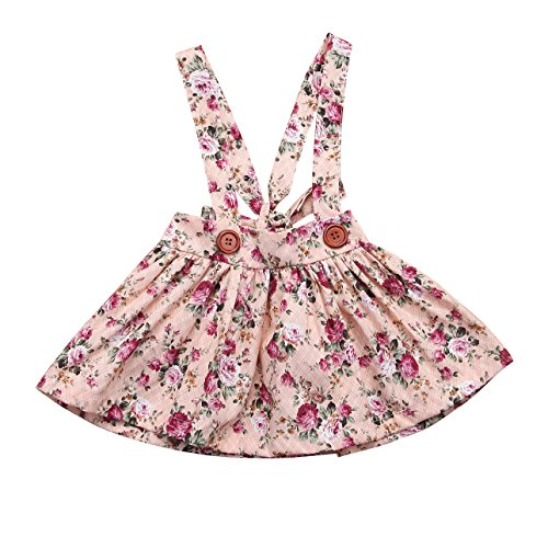 Baby Girl Floral Brace Suspender Skirt Infant Toddler Ruffled Casual Strap Sundress Summer Outfit Clothes (Pink1, (Baby Skirt Pattern)