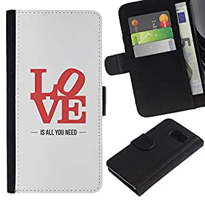 KingStore / Leather Etui en cuir / Samsung Galaxy S6 / All You Need Paroles Rouge Gris