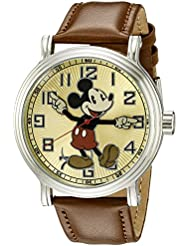 Disney Mens W002419 Mickey Mouse Analog Display Analog Quartz Brown Watch