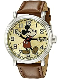 amazon com disney watches men clothing shoes jewelry disney men s w002419 mickey mouse analog display analog quartz brown watch
