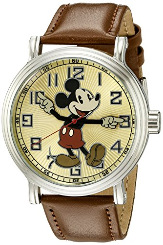 Disney Men W002419 Mickey Mouse Analog Display Analog Quartz Brown Watch