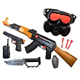 TukTek Kids First 6 Piece Toy Gun w/ Military Combat Mission Set Pretend Play for Boys & Girls