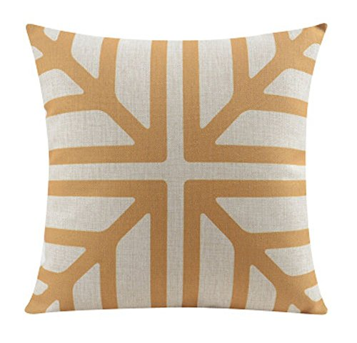 Cotton Linen Scandinavian Modern Geometric Abstract Snowflake Pattern Merry Christmas Gifts Pillow Case Cushion Cover Decorative Sofa Bedroom and Living Room (Orange)