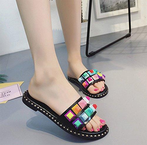Slippers Anti Summer A Rivets Slippers Bottom Cool Slip Flat Ladies weiwei Color U1wTq6vH
