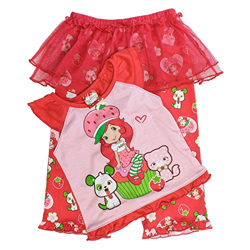 Strawberry Shortcake Girls 2 PC Pajama Set, Red, -