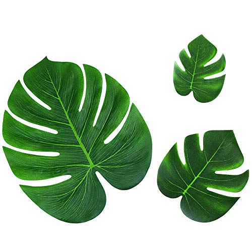 36pcs Tropical Palm Leaves Hawaiian Luau Party Decorations Artificial Leaves Garland Decor Leaf Placemats Impress Your Big Day by (Mat Green Island Decor)