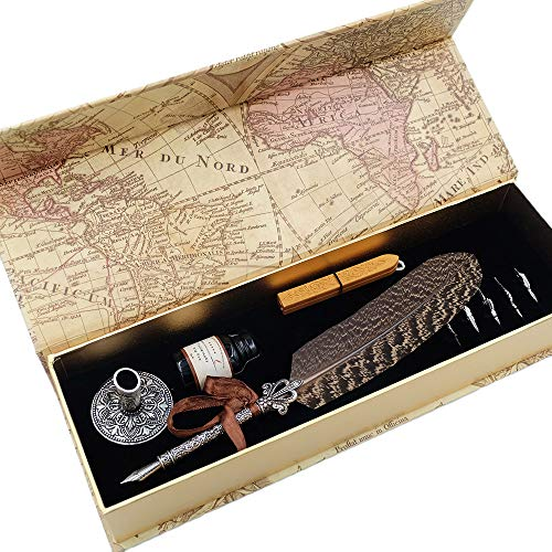 GC Quill Pen Beautiful Nuture Feather Metal Carving Pen Holder 6 Nibs Gift Set GCLL021 by GC Writing Quill (Image #7)