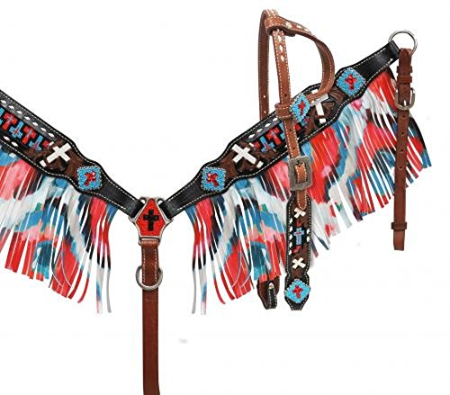 Showman Red White Blue One Ear Beaded Cross Inlay Crystal Concho Fringe Bridle Breast Collar Reins ()