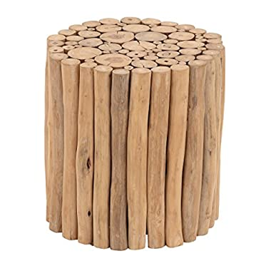 Deco 79 38411 Teak Wood Foot Stool, 14  x 16 , Brown