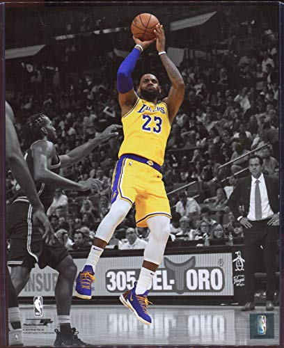 Officially Licensed LeBron James Los Angeles Lakers Spotlight Shooting 8x10 Photo with Toploader