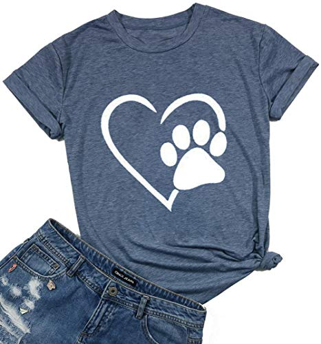 Womens Dog Paw Print Heart Graphic T-Shirt Love Dogs Casual Tee for Mom Grey