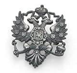 Russian Double Headed Eagle Lapel Pin. silver plated