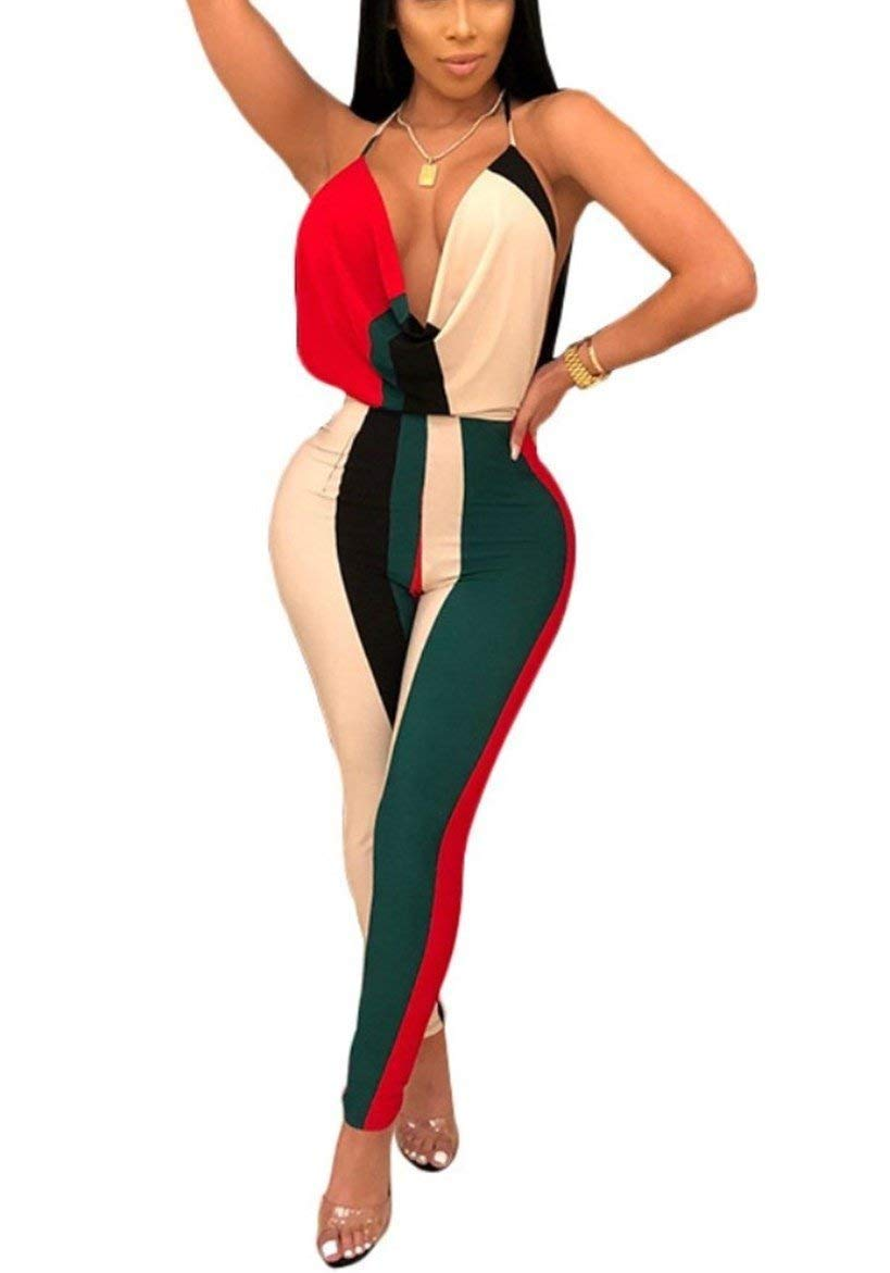 Yeshire Women's Spaghetti Strap Sexy Deep V Neck Color Block Backless Skinny Jumpsuits Rompers Clubwear Long Pants Medium Multied