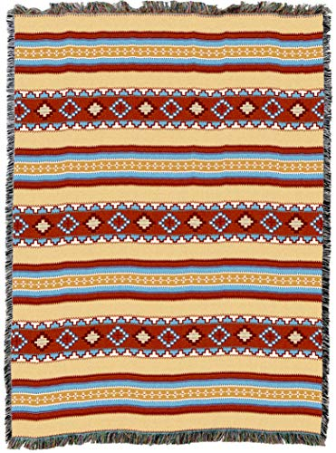 Pure Country Weavers | Saddle Stripe Blanket | Woven Throw with Fringe Cotton USA -