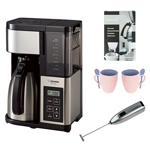 Zojirushi EC-YSC100-XB Fresh Brew Plus Thermal Carafe Coffee Maker with Two 12 Oz. Mugs, Descaler, and Handheld Milk Frother by Zojirushi