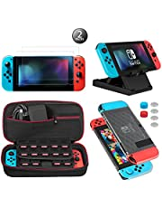 Keten Le kit d'accessoires 13 in 1 Nintendo Switch Comprend Nintendo Switch Carrying Case/Nintendo Switch Housse/Protecteur d'écran réglable/HD (2 Paquets)