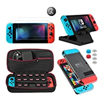 Keten 13 in 1 Accessory Kit for Nintendo Switch include Carrying Case / Switch Clear Cover Case / Adjustable Stand / Tempered Galss HD Screen Protector (2 Packs)