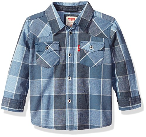Levi's Boys' Barstow Western Plaid Shirt, Dress Blues, 24 (Western Dress Clothes)