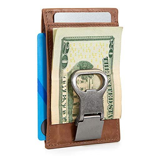 Money Clip Bottle Opener - Slim RFID Leather Money Clip Wallet with Bottle Opener for Men