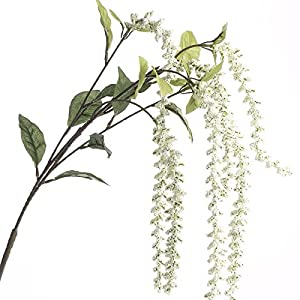 Factory Direct Craft Pair of Flowing and Cascading Artificial Cream Amaranthus Sprays for Crafting, Creating and Embellishing 112