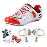 KUKOME Men's Women's Road Cycling shoes & Pedals(WR + White,EU42/Ft26.5cm)