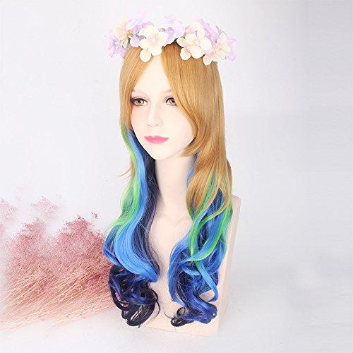 Fashion wigstyle moda colorido largo ondulado cosplay peluca marrón diseño de la Sirenita azul verde Ombre disfraces peluca arco iris pelo para las mujeres: ...