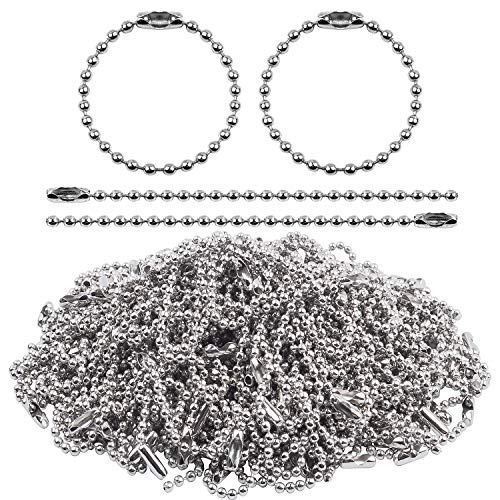- Jdesun 200 Pieces 100mm Long Bead Connector Clasp 2.4 mm Diameter Ball Chains Keychain Tag Key Rings