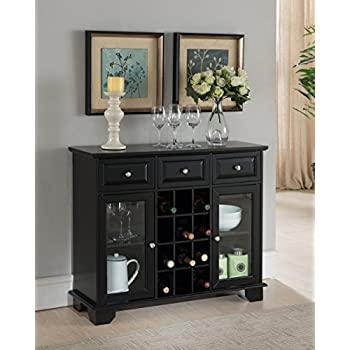Winsome 3 Piece Ancona Wine Cabinet Modular Set Black Kitchen Dining