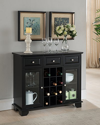 Kings Brand Furniture Buffet Server Sideboard Cabinet with Wine Storage, Black (Bar Buffet)