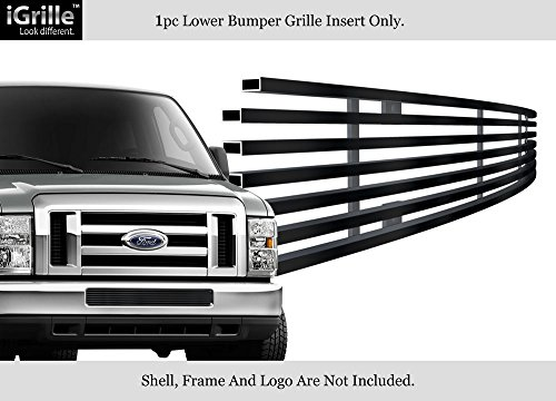 For 2008-2014 Ford Econoline/ E Series Black Bumper Stainless Billet Grille #F66659J