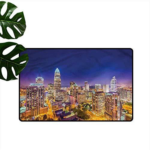 (Washable Doormat Modern Panoramic Uptown Sky Night Machine wash/Non-Slip W31 xL47)