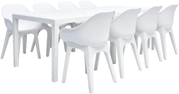 Festnight- Conjunto de Muebles de Jardín Exterior, Mesa y Sillas de Plástico Jardín 9 Piezas Blanco: Amazon.es: Hogar